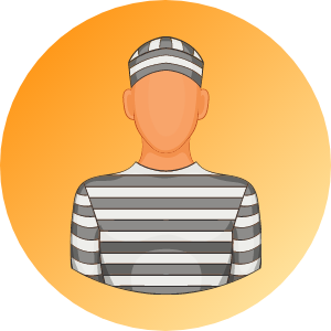 An inmate dressed in black and white.